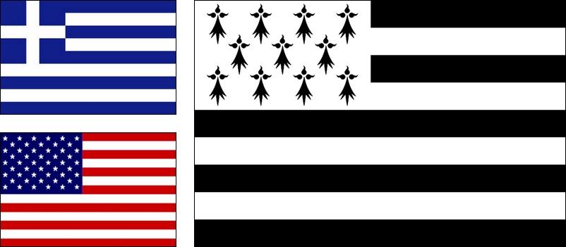 Drapeaux USA Grèce Breton