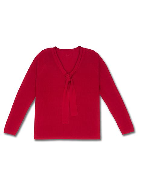 Pull lavallière femme rouge photo face