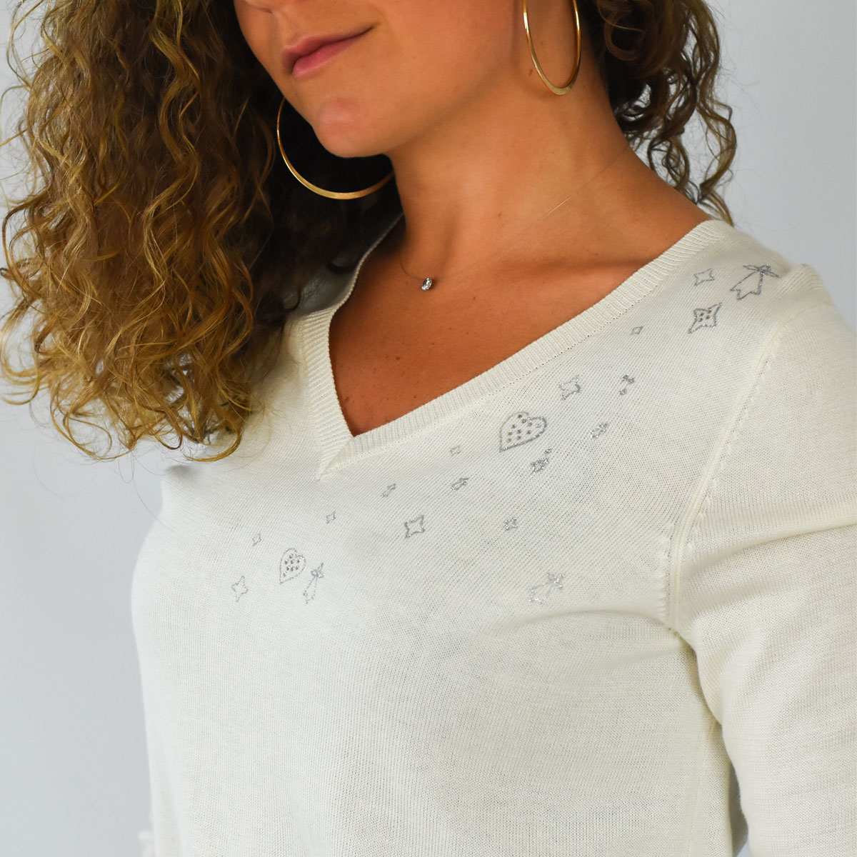 Pull élégant Bruz blanc zoom motifs
