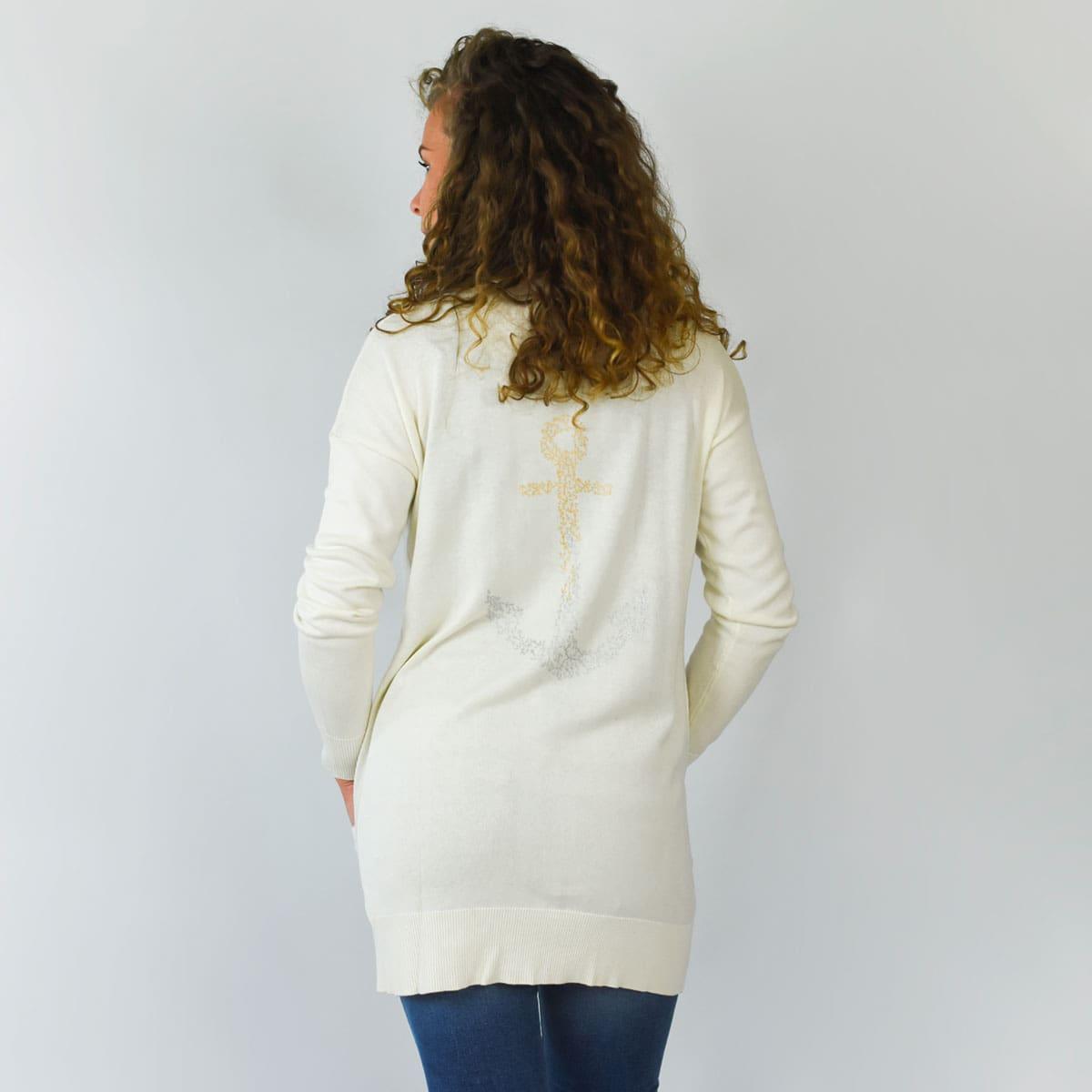 Gilet marin Binic blanc avec ancre au dos