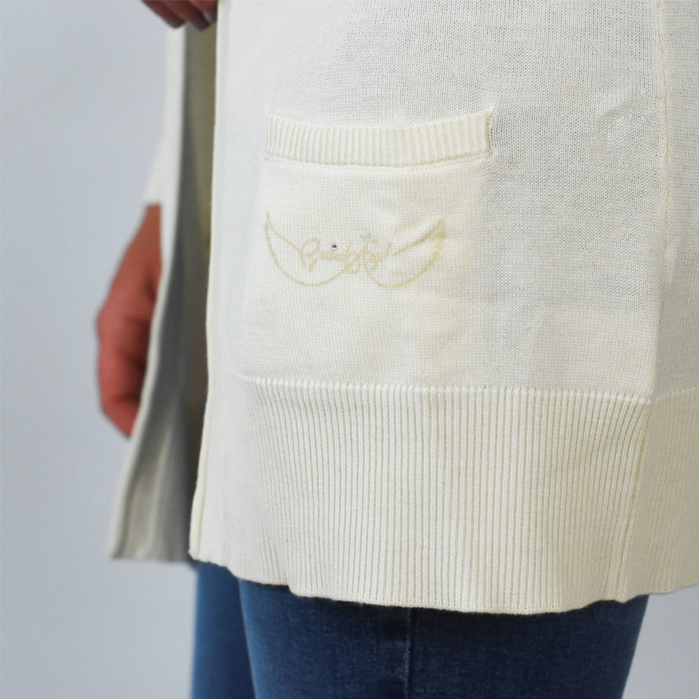 Gilet marin Binic blanc zoom sur poche