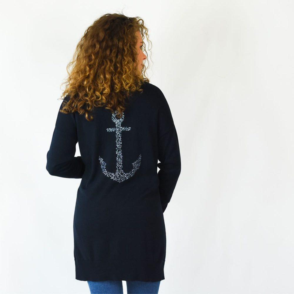 Gilet marin Binic bleu marine avec ancre au dos