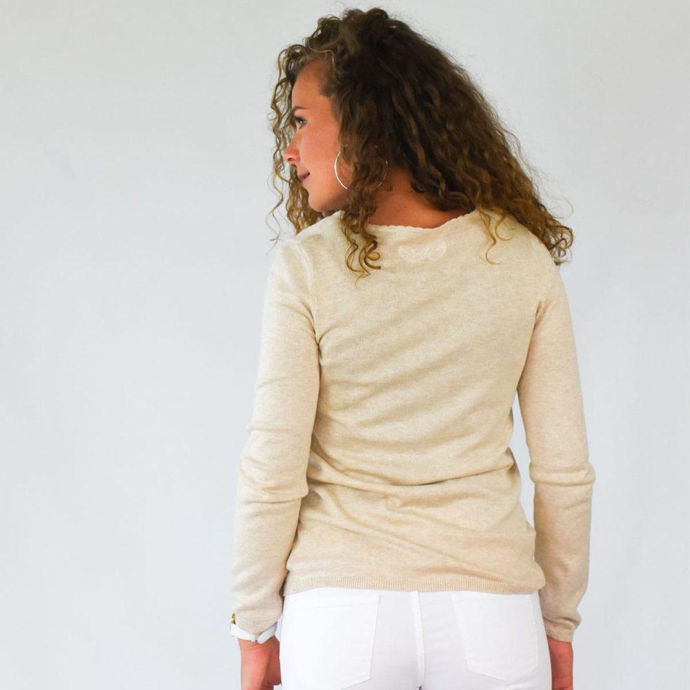 pull féminin Roscoff beige dos