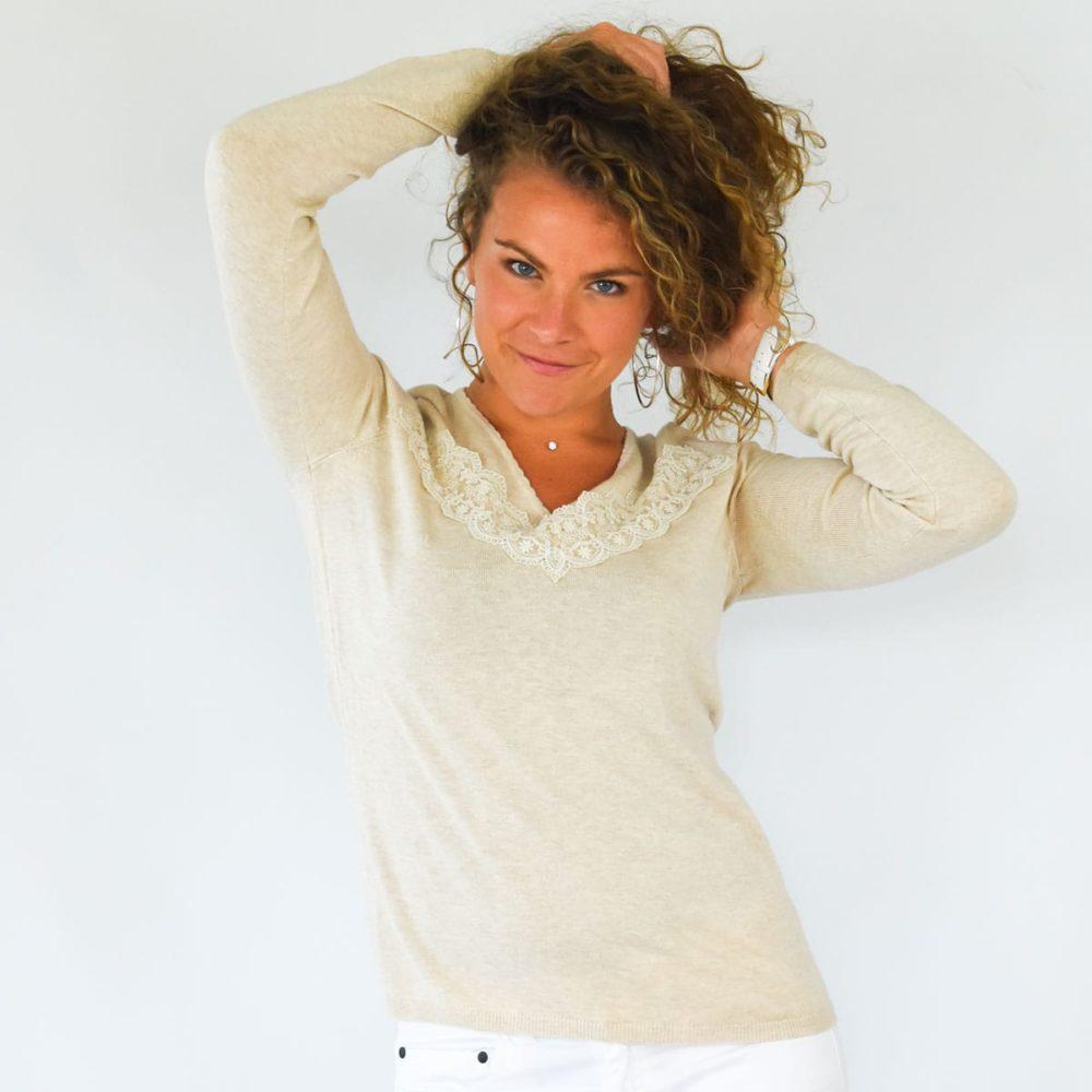 pull féminin Roscoff beige face