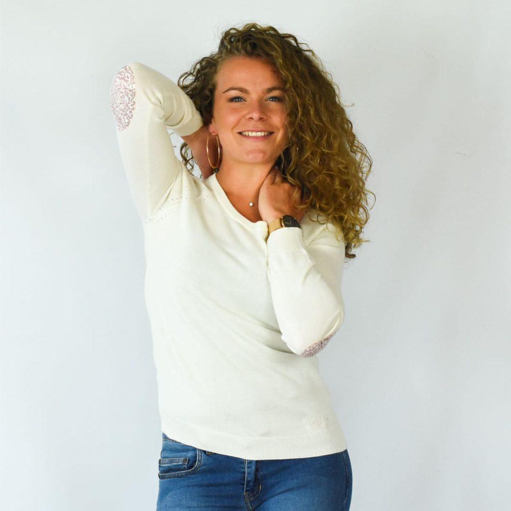 Pull féminin Lesneven inscription So Breizh au dos et coudières