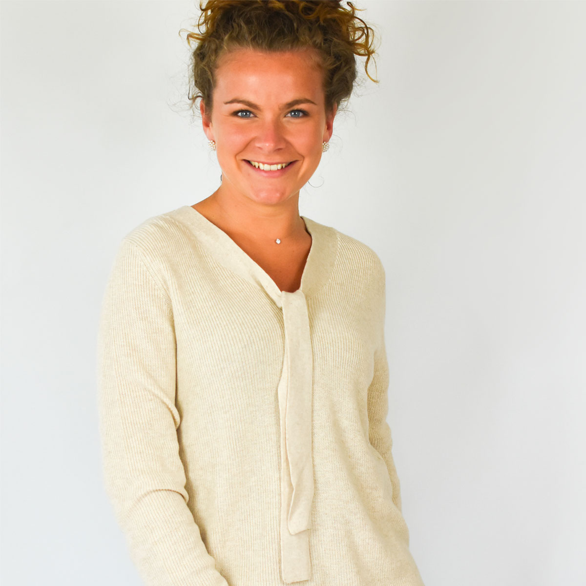 Pull lavallière femme beige zoom col