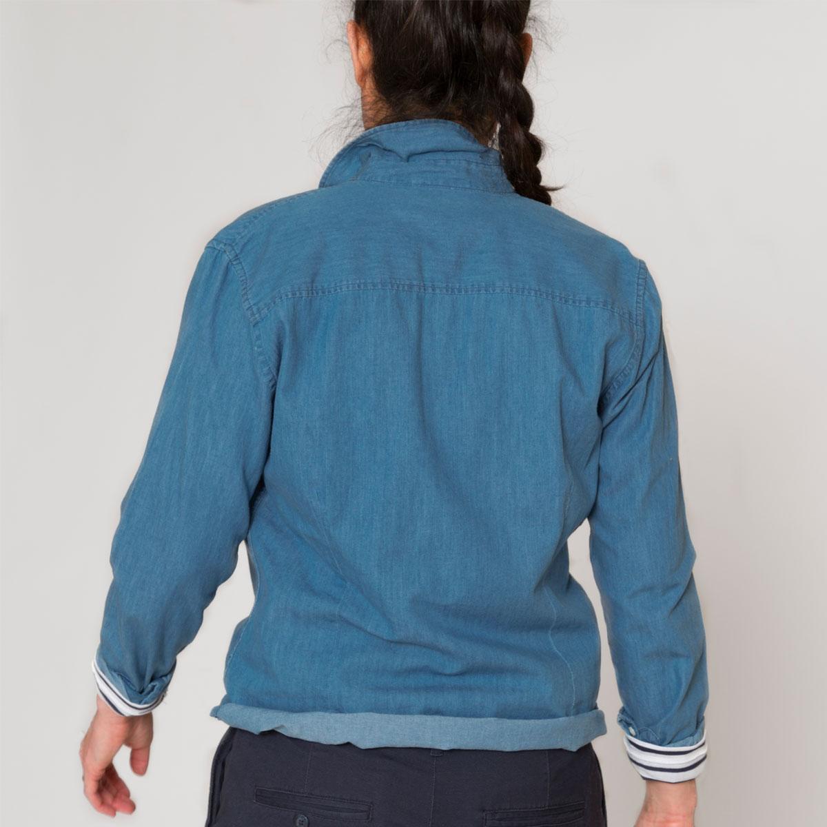 Chemise en jean coton bio Bretagne indigo dos