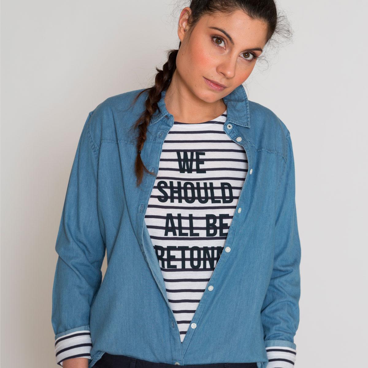 Chemise en jean coton bio Bretagne indigo face