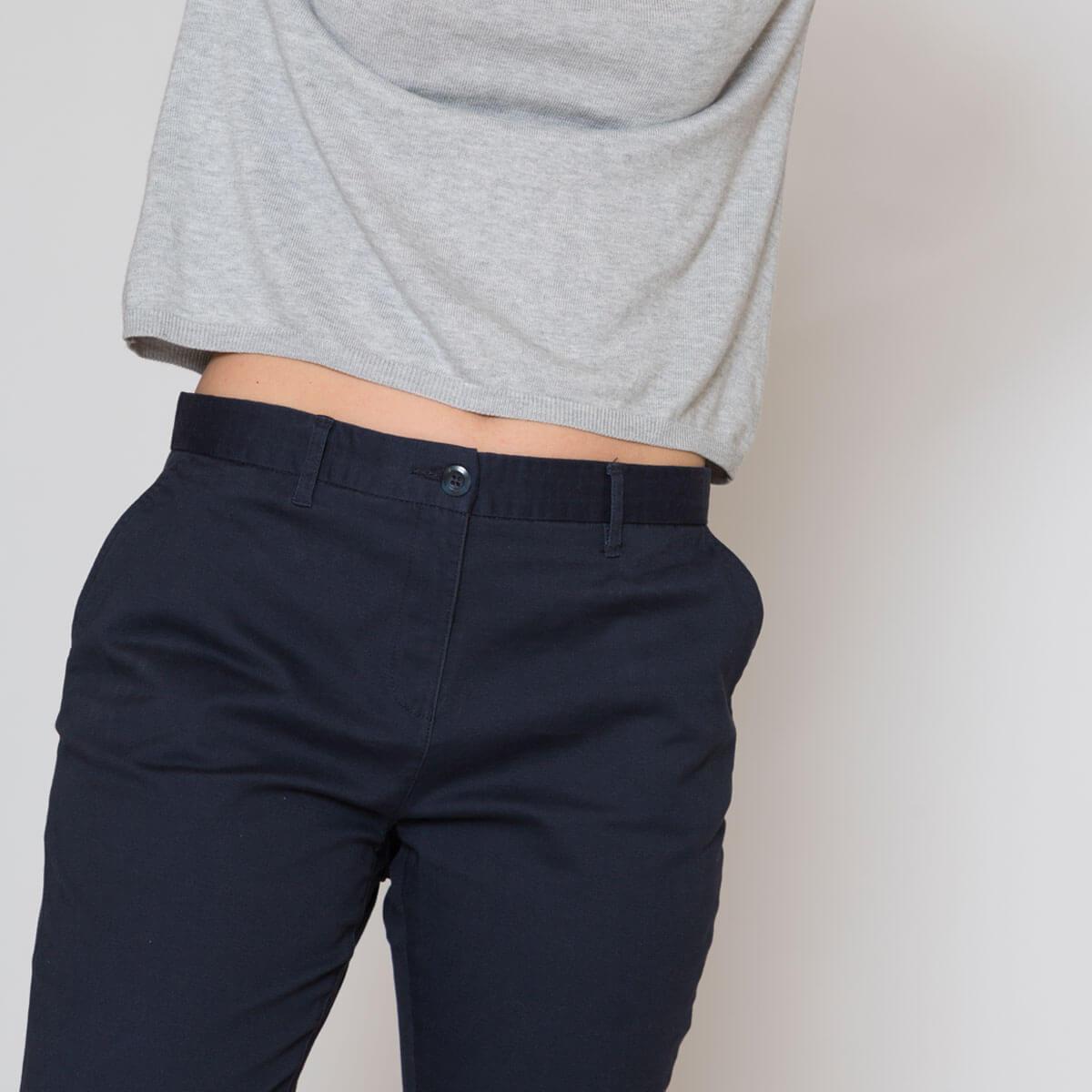 Pantalon chino femme bleu zoom