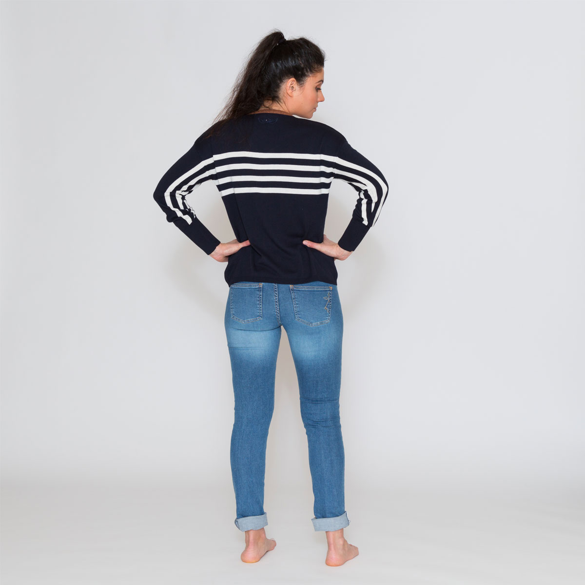 Pull marin New stripe bleu dos