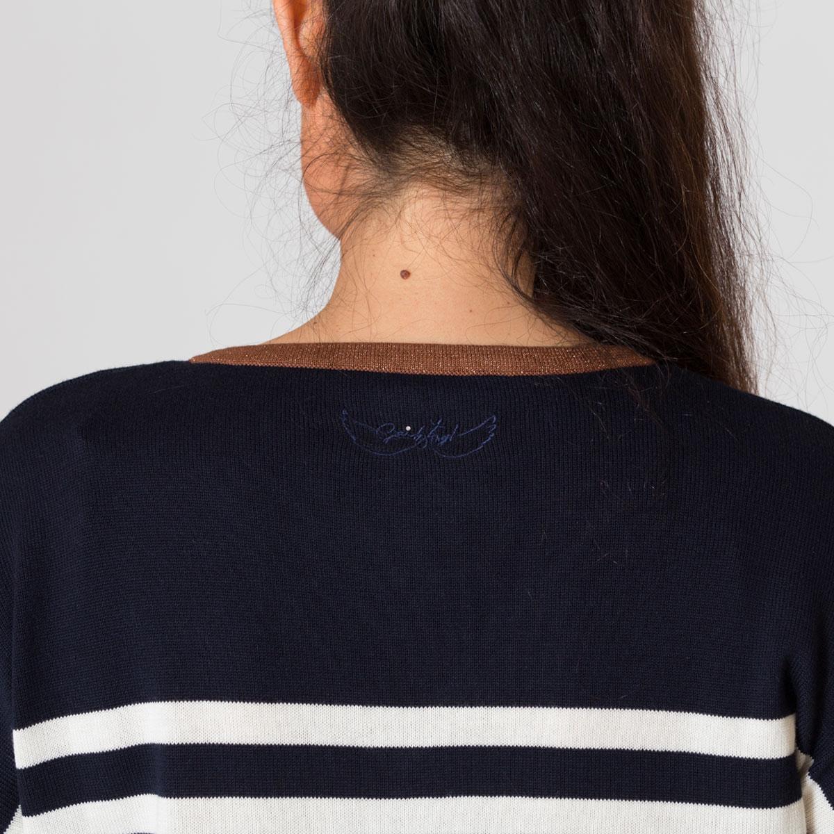 Pull marin New stripe bleu zoom logo