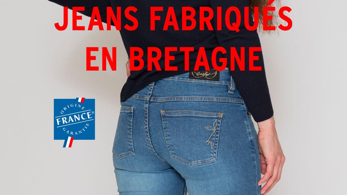 Photo du jean fabriqué par dolmen x Breizh Angel