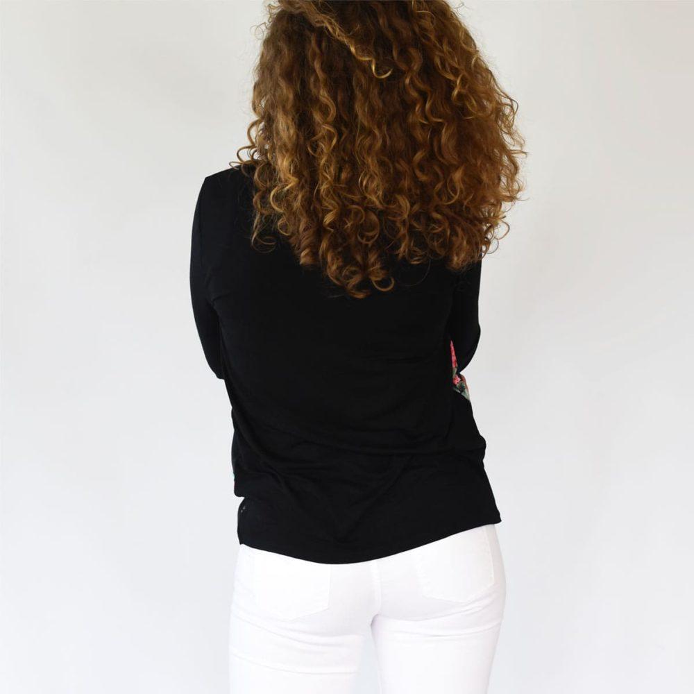 Blouse hortensia femme noir dos