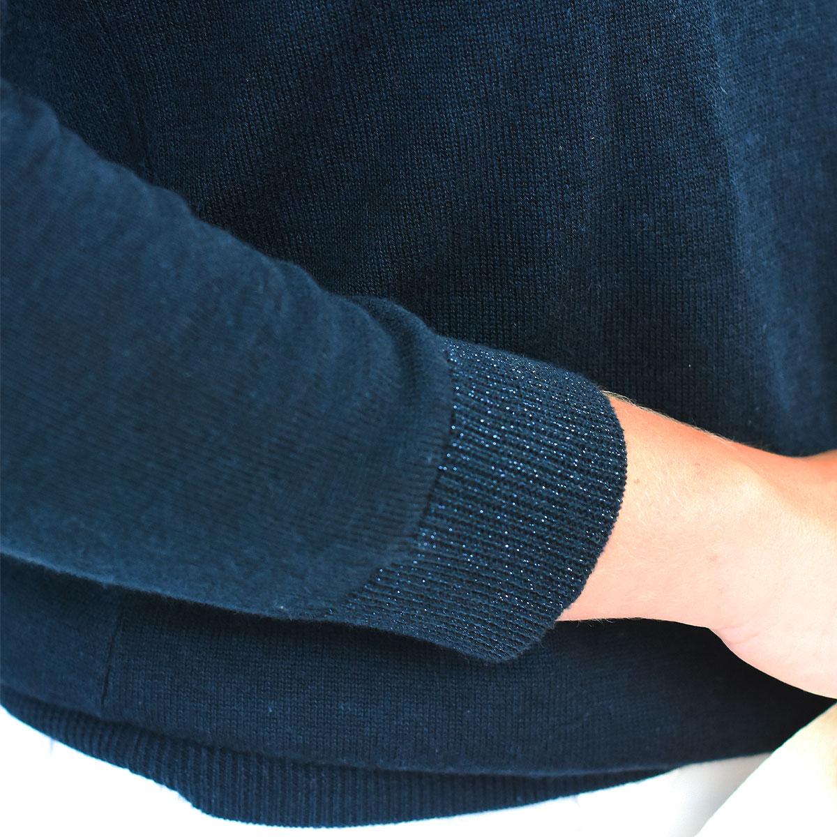Pull Bretagne hortensia bleu marine manches