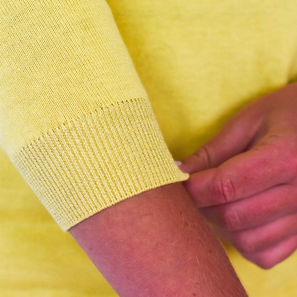 Pull Bretagne hortensia jaune manches