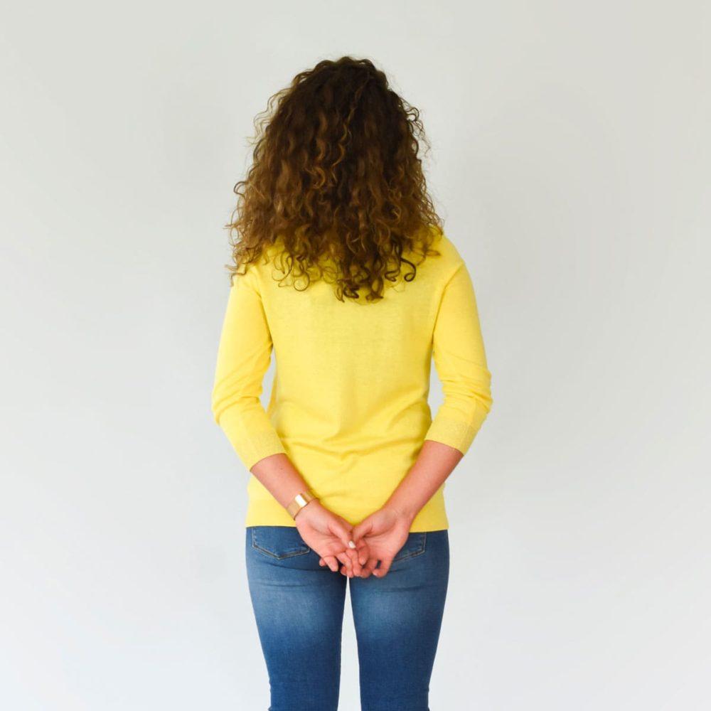 Pull Bretagne hortensia jaune dos