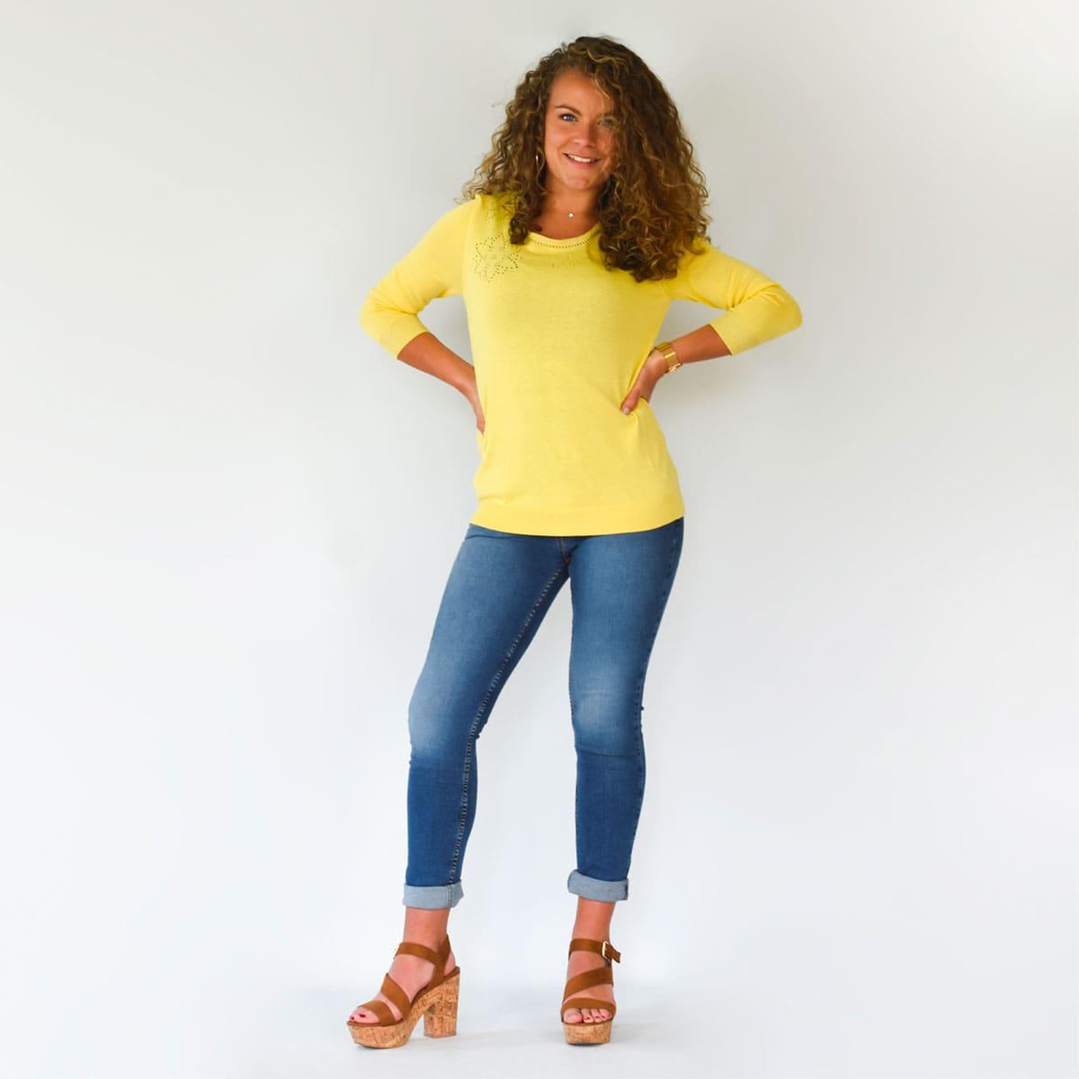 Pull Bretagne hortensia jaune face