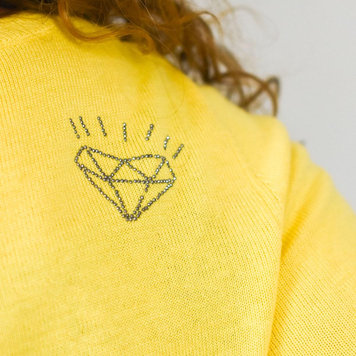 Pull jaune femme Guidel zoom diamant