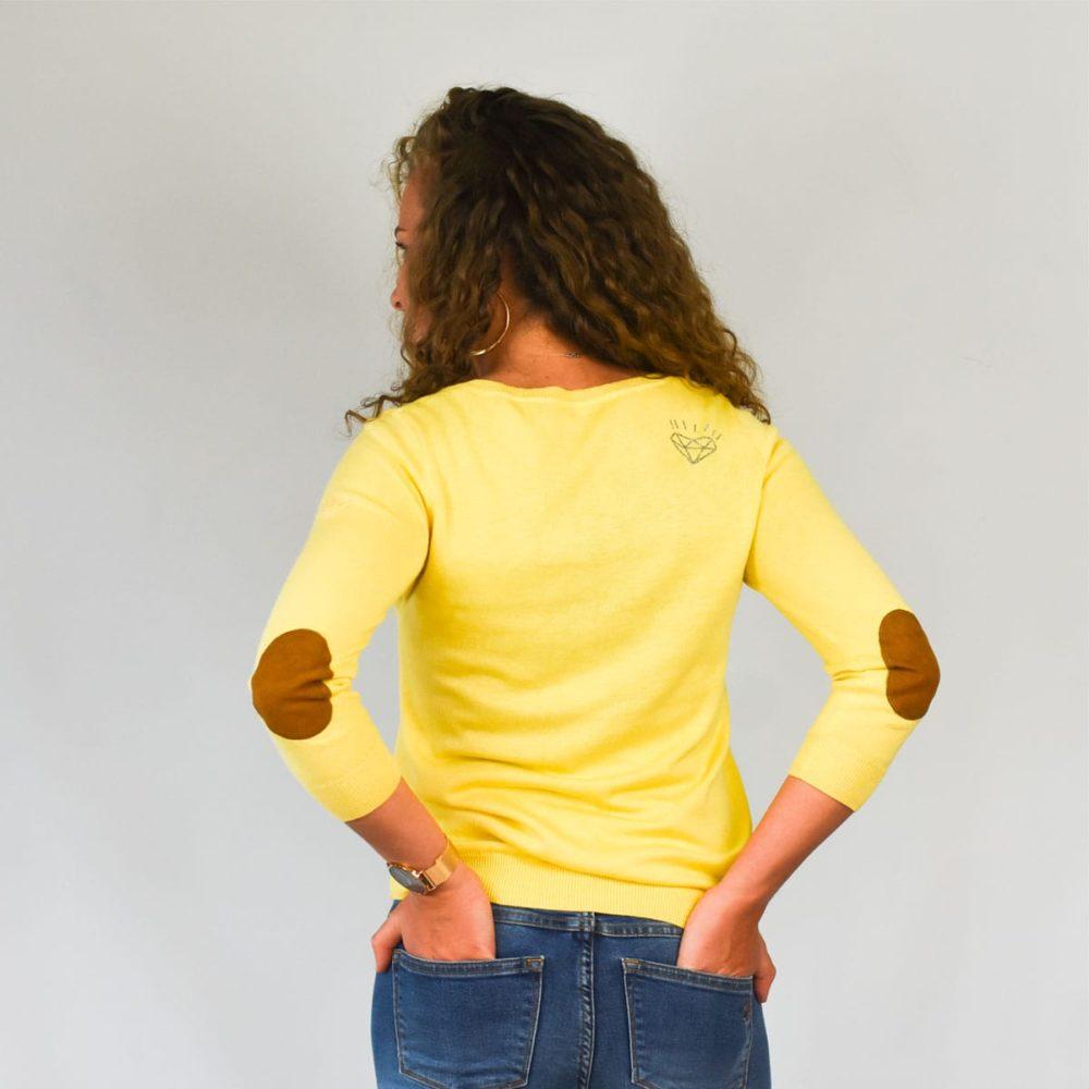 Pull jaune femme Guidel dos
