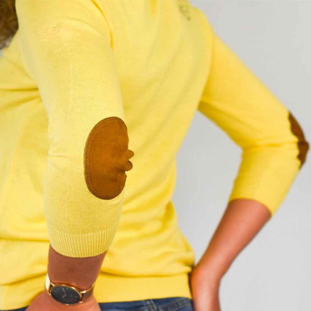 Pull jaune femme Guidel zoom coudes