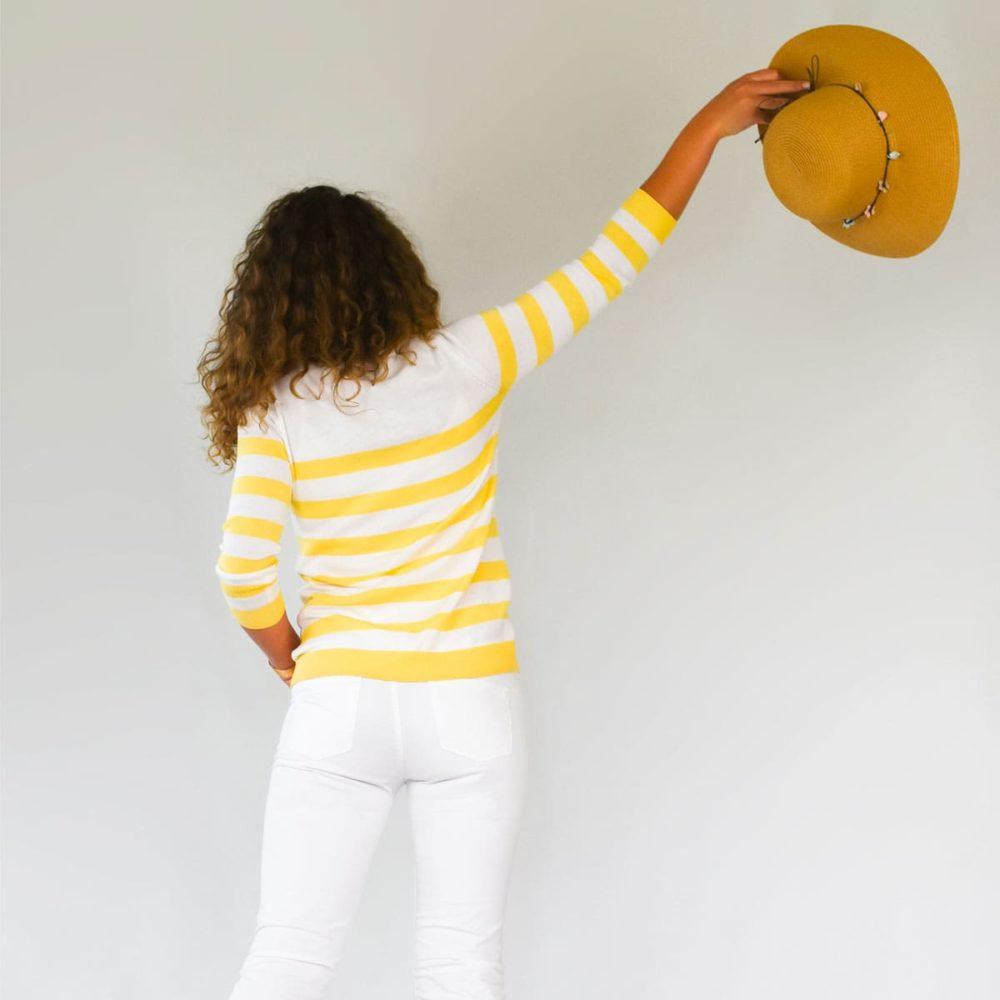 Pull marin femme Tréguier jaune dos