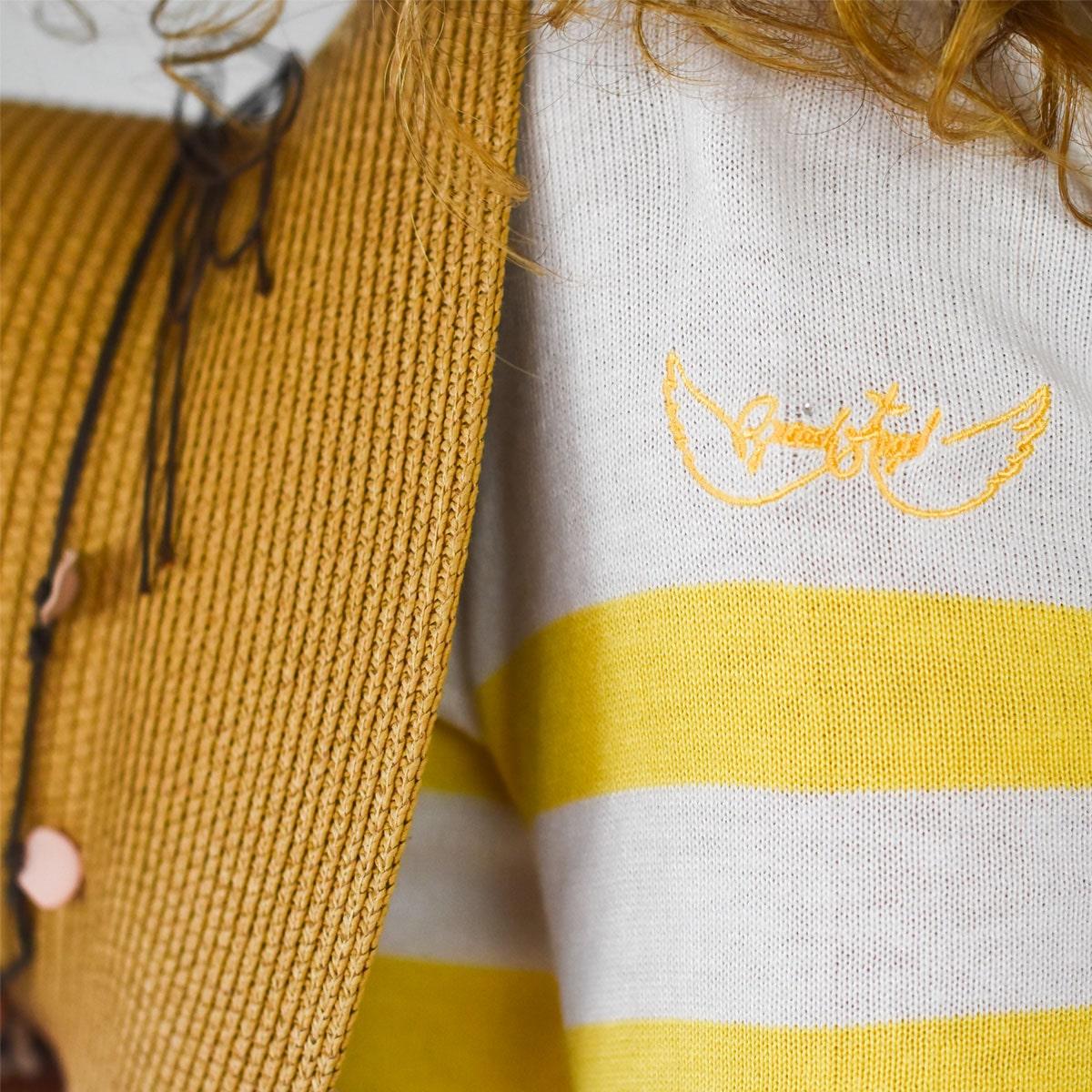 Pull marin femme Tréguier jaune zoom logo