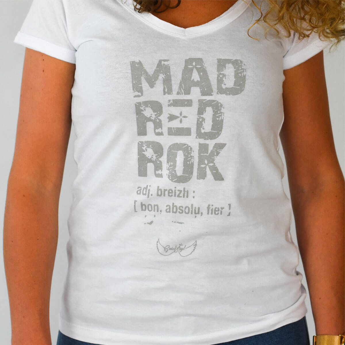 Tee-shirt breton Mad red rock blanc zoom