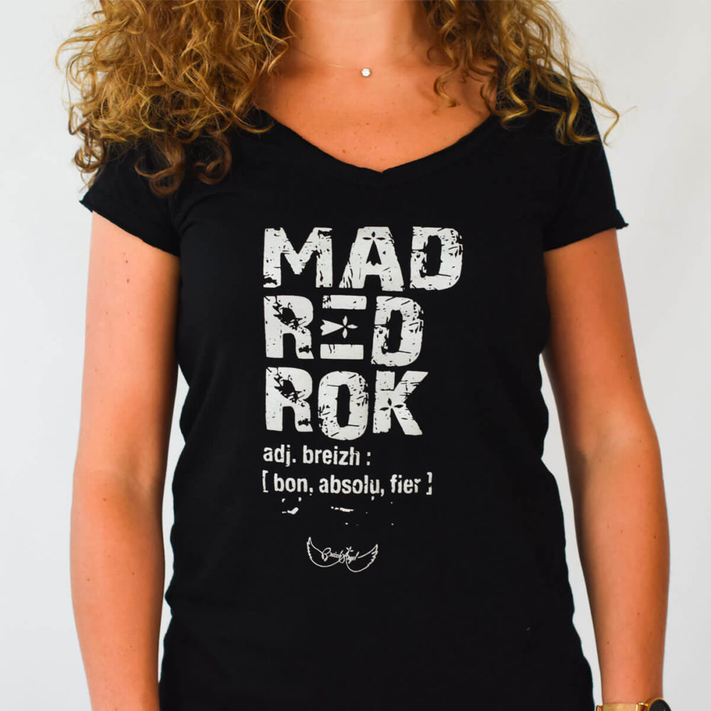 Tee-shirt breton Mad red rock noir zoom