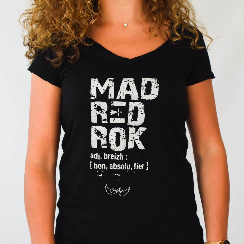 Tee-shirt breton Mad red rock noir zoom