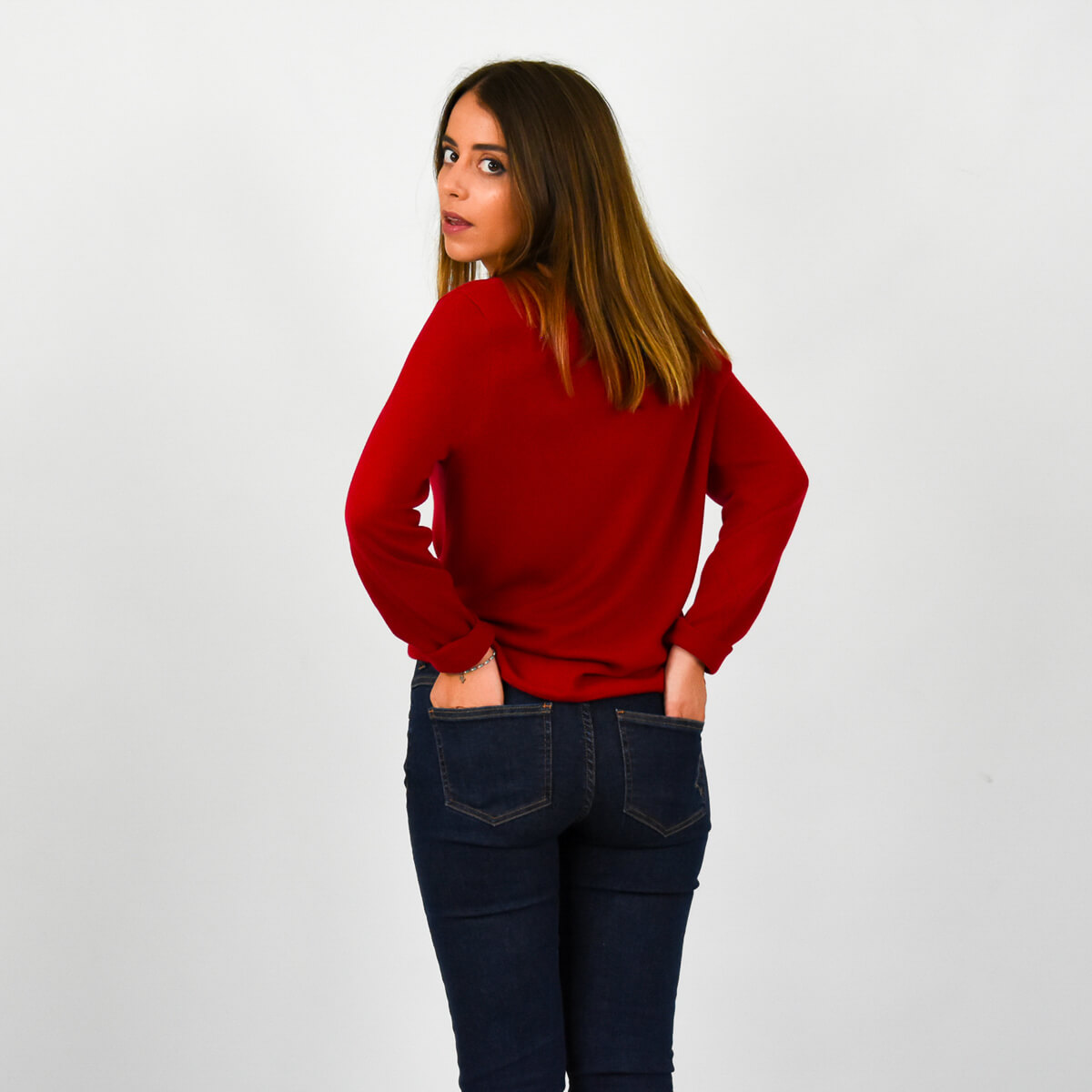 PULL CHIC FEMME ROUGE DOS