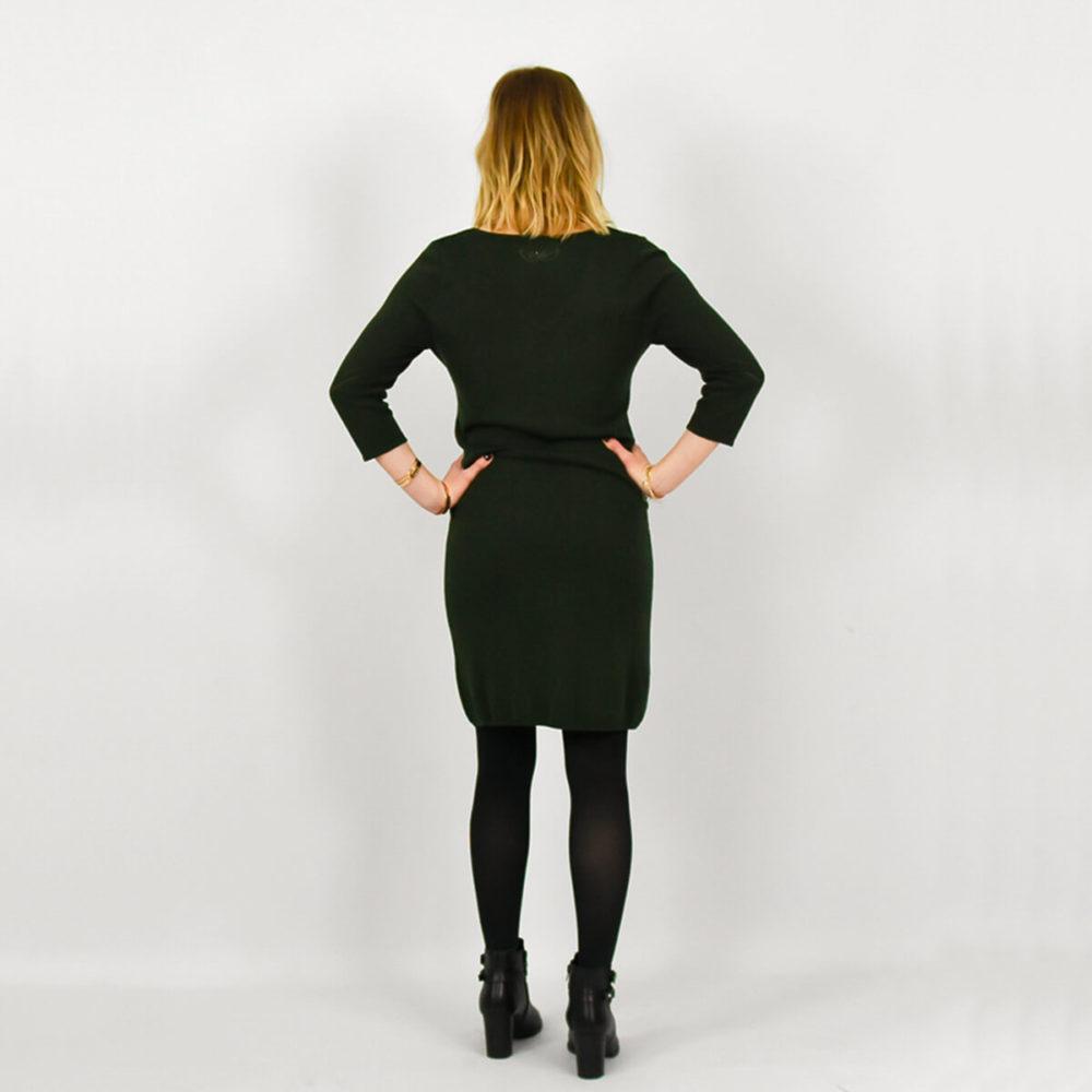 ROBE PULL FEMME KAKI DOS