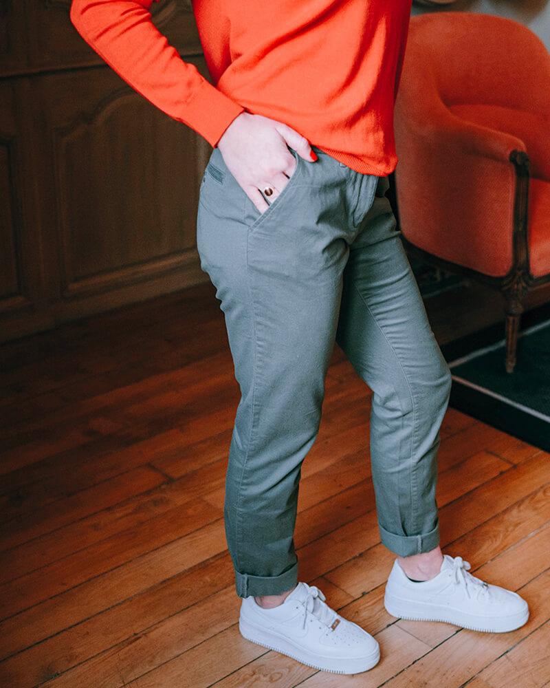 pantalon Chino femme kaki