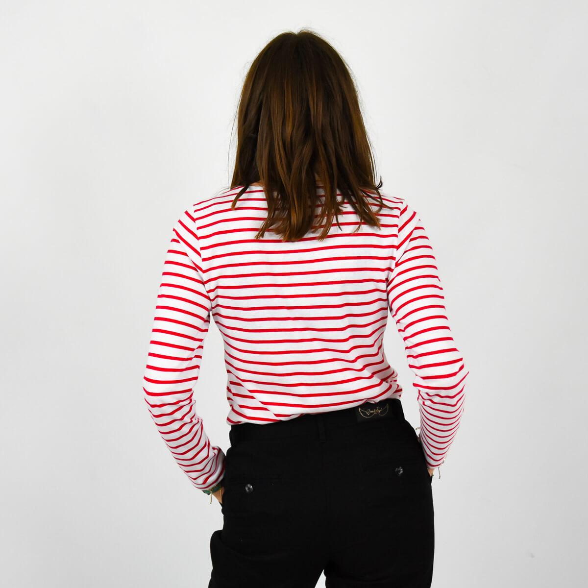 Marinière femme Bretagne message rouge dos