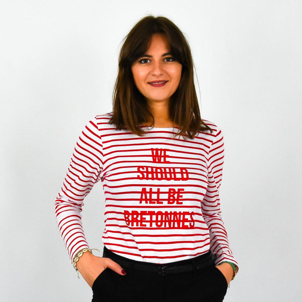 Marinière femme Bretagne message rouge face