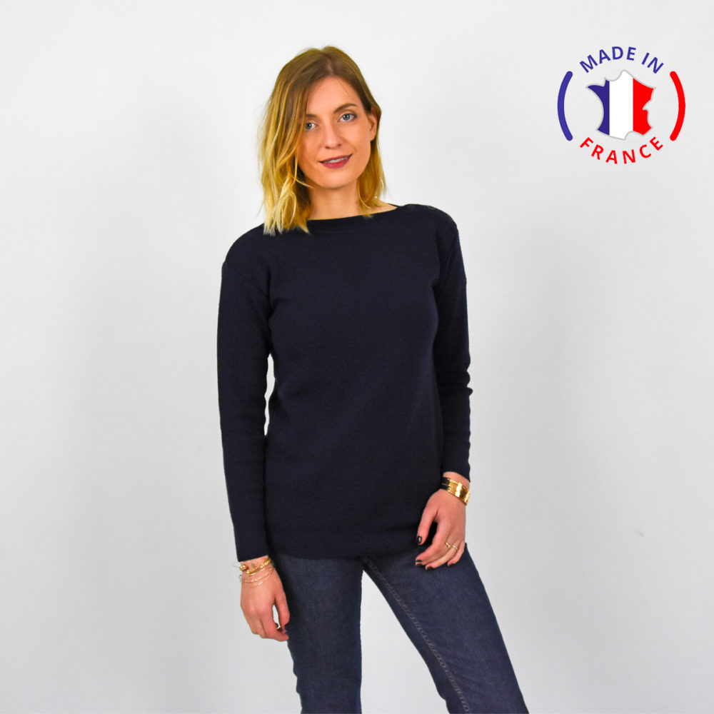PULL MARIN-FABRIQUE-EN-BRETAGNE-FEMME FACE