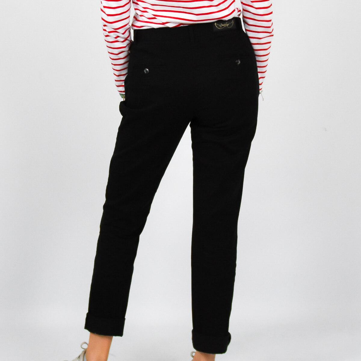 Pantalon chino femme noir DOS