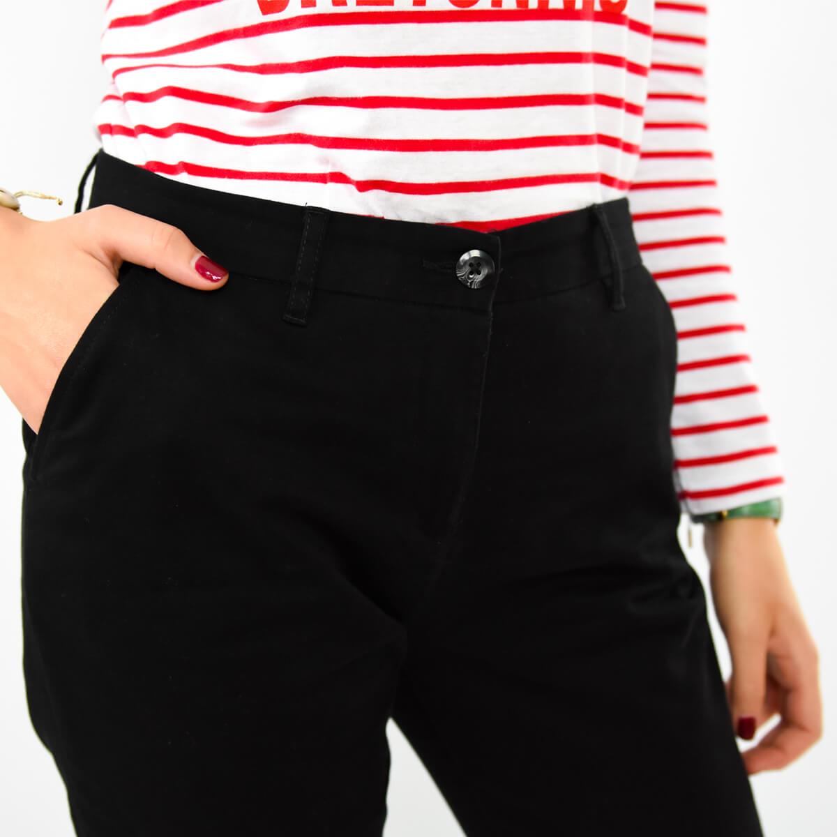 Pantalon chino femme noir zoom face