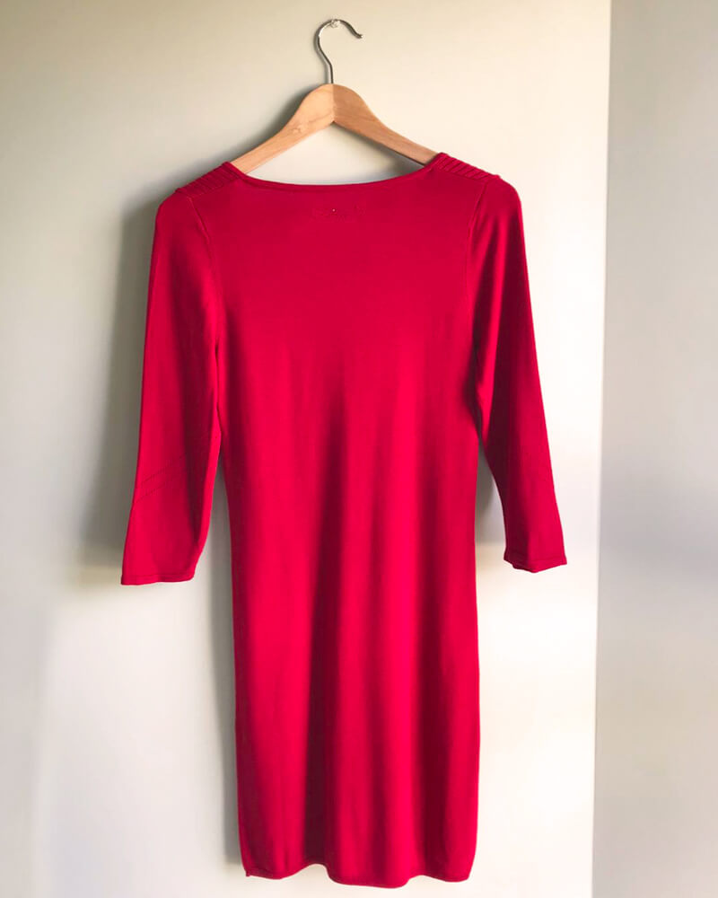 ROBE PULL FEMME ROUGE DOS