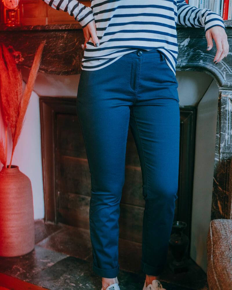 pantalon Chino femme bleu marine