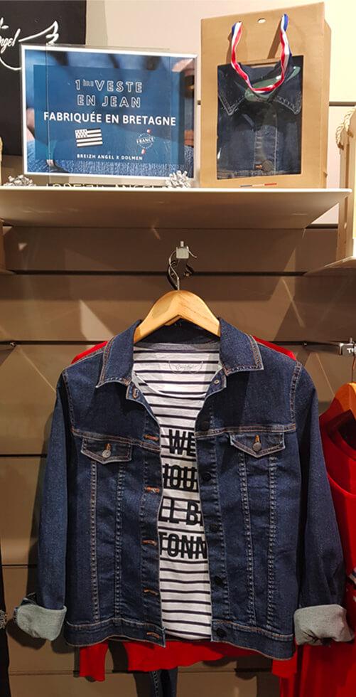 Veste en jean fabriquée en France en Bretagne