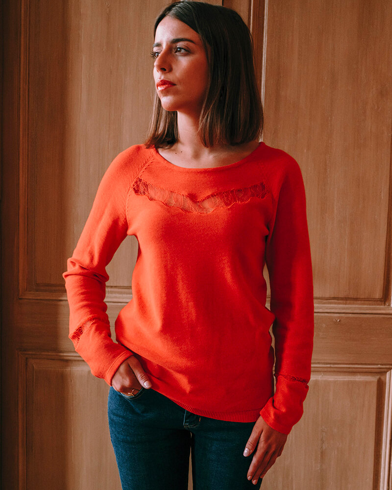 pull dentelle babette-orange-face