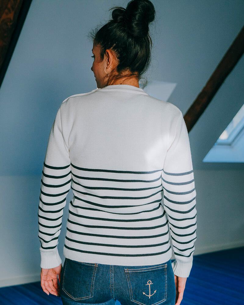 pull marin mixte fabriqué en France berenice-dos