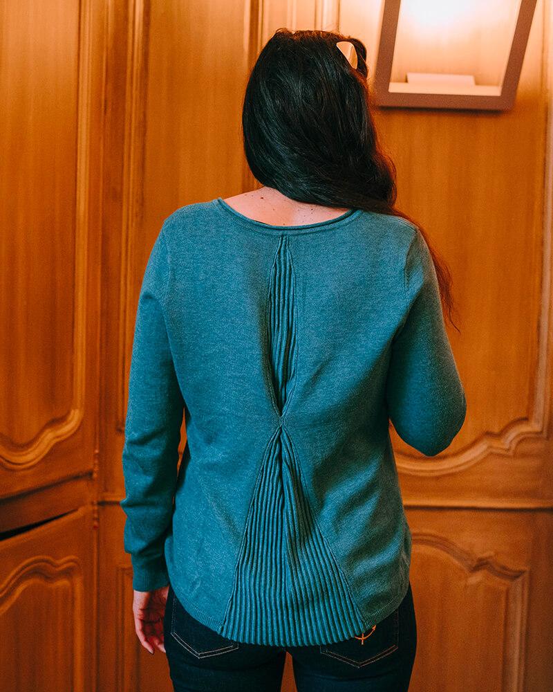 pull voile dos bluen vert
