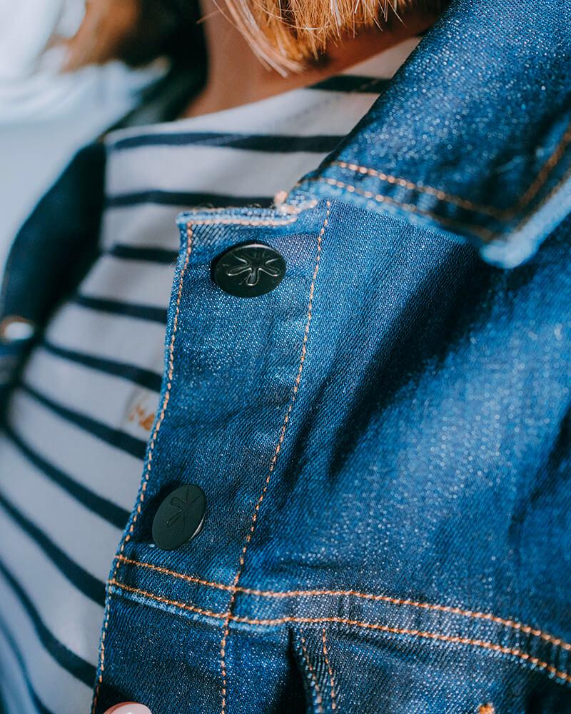 veste en jean fabriquee en France-zoom-boutons