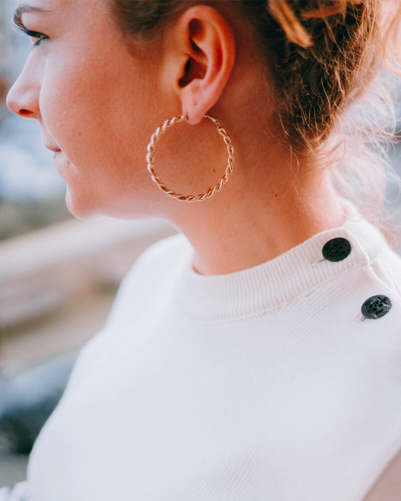 Créoles plaqué or boucles d'oreilles torsades