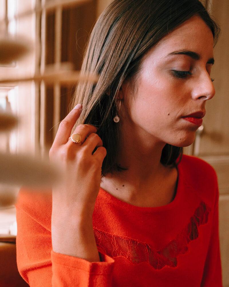 Boucles d'oreilles plaqué or soleil blanc