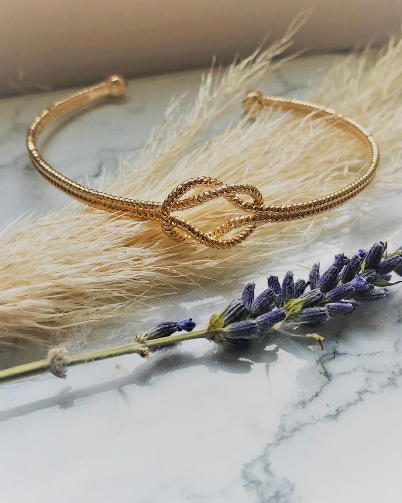 Bracelet noeud marin plaqué or