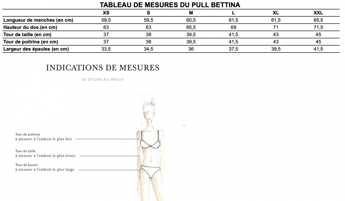 Guide des tailles pull Bettina