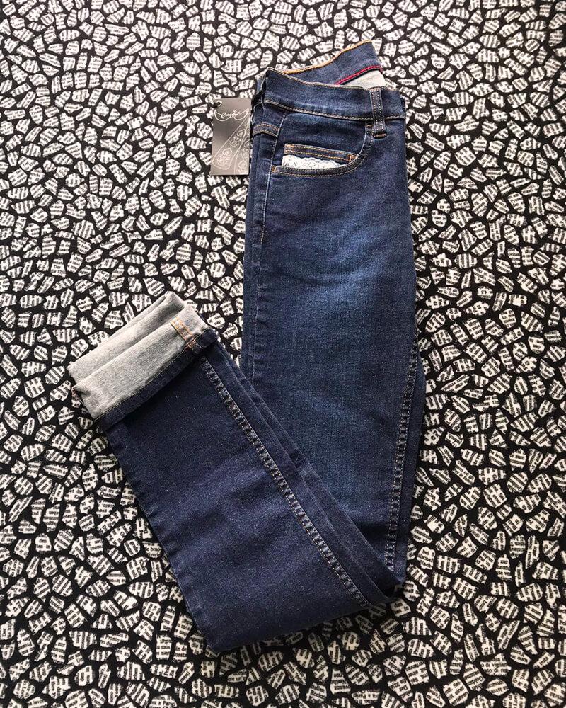 jean fabriqué en France dentelle délavage brut