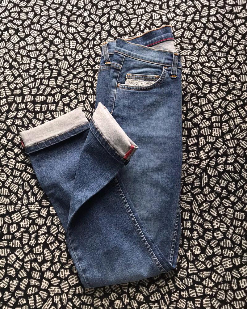 jean fabriqué en France dentelle délavage clair